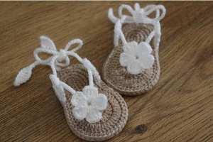 Sandals Baby Flop Flowers CROCHET Flip with Little-Puff Size9cm 10cm 11cm