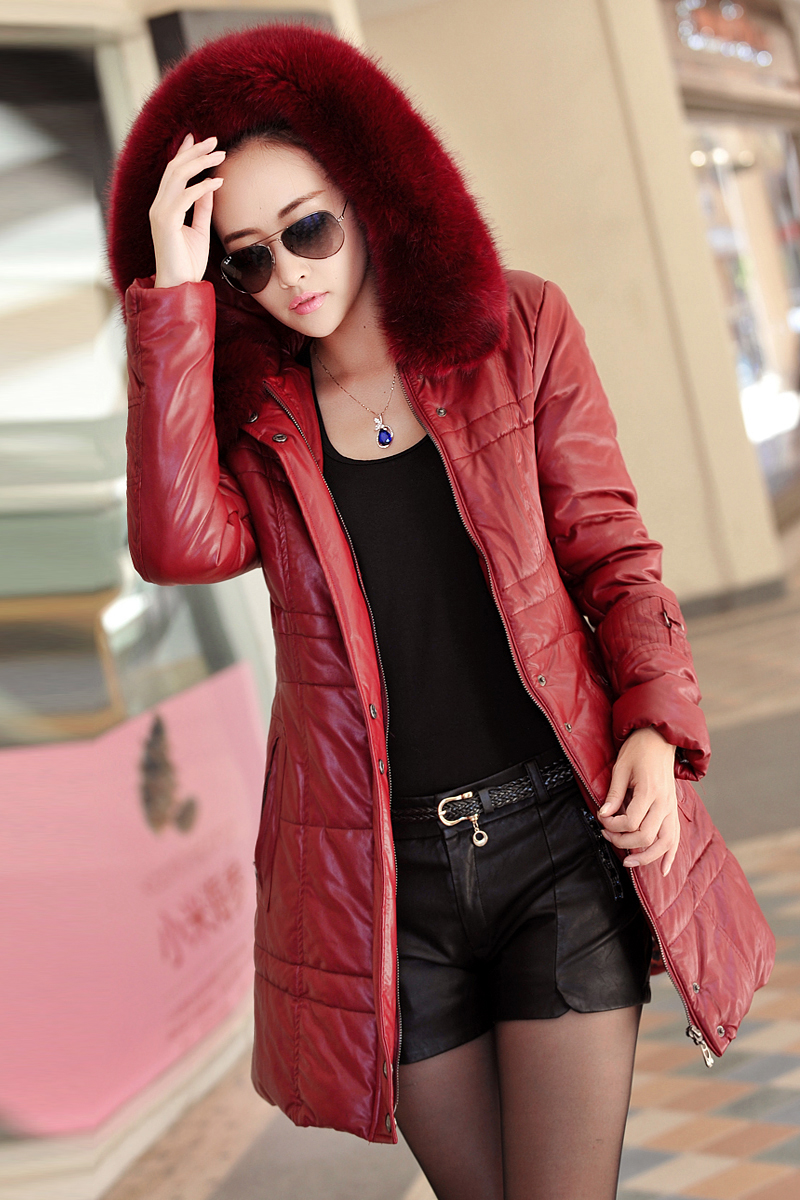 ФОТО New Fur Leather Coat Women Fashion Leather jacket for women Female thick warm clothes winter jacket for lady plus size 938