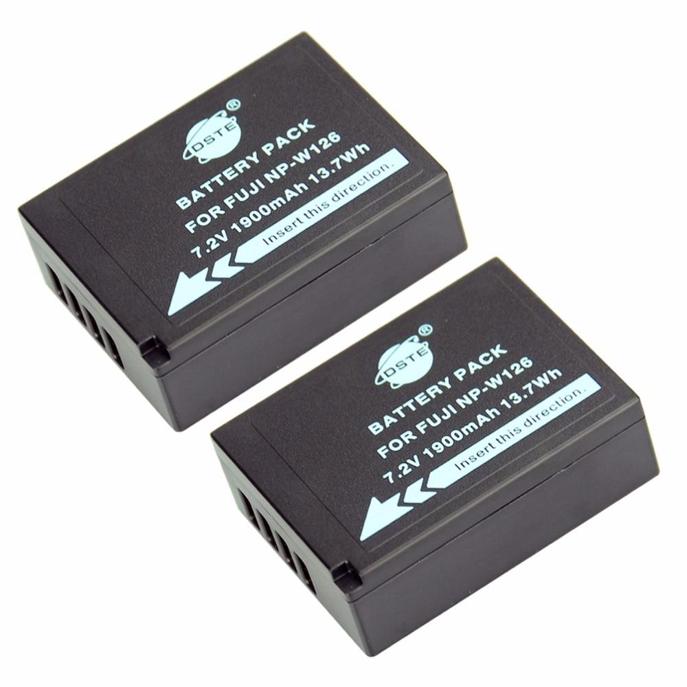 DSTE 2 PCS NP-W126 np-w126 NP-W126S Caméra Batterie pour Fuji HS50 HS35 HS33 HS30EXR XA1 XE1 X-Pro1 XM1 X-T10