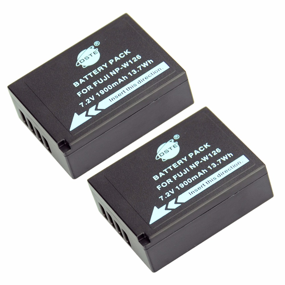 DSTE 2PCS NP-W126 np-w126 NP-W126S Camera Battery for Fuji HS50 HS35 HS33 HS30EXR XA1 XE1 X-Pro1 XM1 X-T10 lvsun camera battery np w126 npw126 w126 dual car ac charger for gopro hero 5 4 fujifilm fuji hs50 hs35 hs33 hs30exr hs33exr