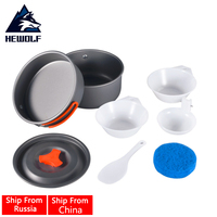 Hewolf Outdoor 8 pz/set Singola Persona Portable Strumenti Escursione di Campeggio Backpacking Cucina Picnic Pentole Bowl Pot Pan Set