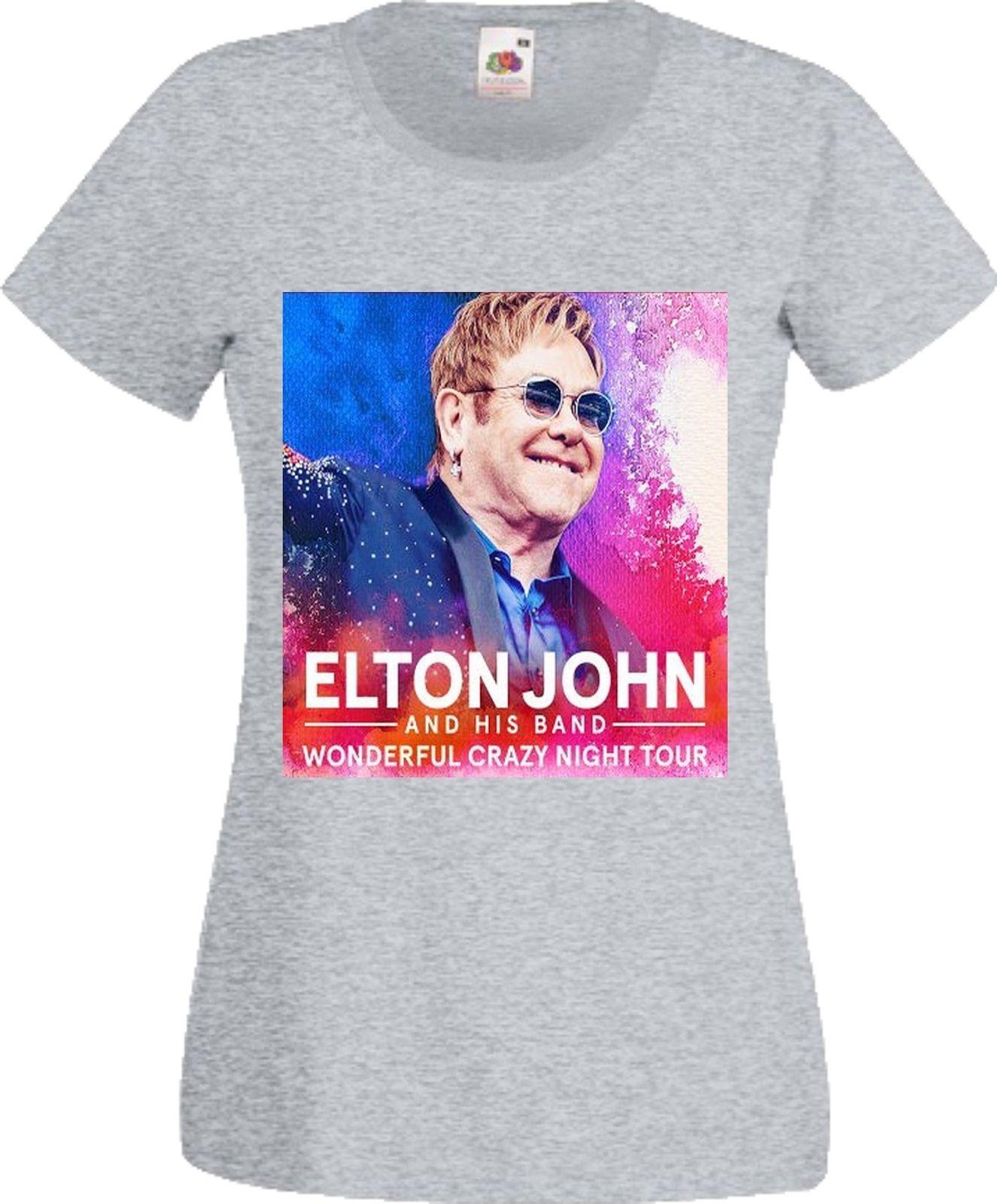 100% летняя хлопковая Футболка Для женщин короткий рукав Best друг Элтон Джон замечательный сумасшедшая ночь Tour 2017 музыка рок-группы поп рубашк...