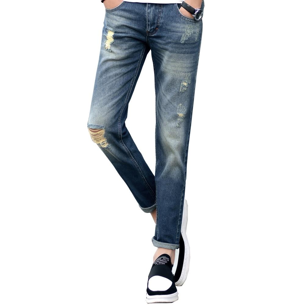 Fashion New Hole Jeans Men Cotton Elastic Breathable Casual Denim Pants For Men Slim Fit skinny Jeans Male