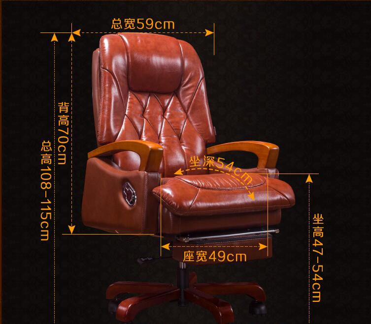 Купить с кэшбэком Home computer chair. Can lie up and down boss chair. Real leather swivel chair fixed armrest leather art office chair.23