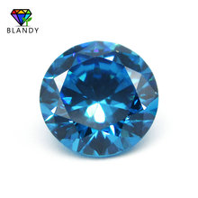 1000pcs/lot 0.8mm 2.5mm Round Brilliant Cut Acquamarine CZ Gems Synthetic Loose Seablue Cubic Zirconia Stone For Jewelry