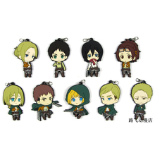 Attack on Titan Erwin Eren Jager Smith Hanji Zoe Reiner Braun Annie Leonheart Action Figure Anime Model Rubber Keychain Pendant