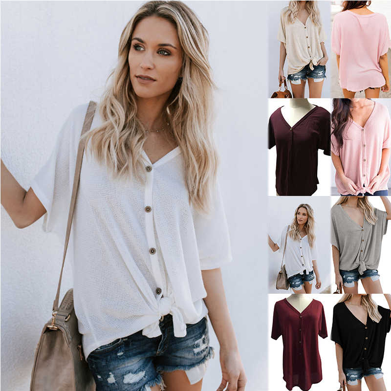 COZARII 2018 Hot Sale Women T-shirt Half Batwing Sleeve Button Solid V-Neck Ladies T-shirt Tops Office Style Chemise Femme