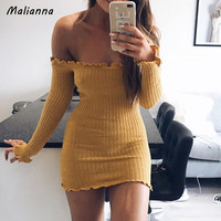 2017 Winter Autumn Sexy Women Solid Sweater Pullovers Long Knitted Ruffles Slash Neck Off Shoulder Warm