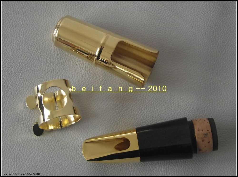 New Gold -plated Metal Bb Clarinet mouthpiece ligature & cap Clarinet parts #6 купить