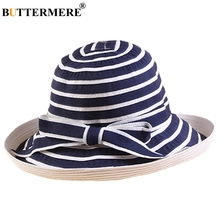 BUTTERMERE Fishing Cap Women Cotton Navy White Bucket Hat Summer Ladies Bowknot Elegant Striped Female Folding Sun Casual