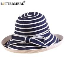 e1b5429b BUTTERMERE Fishing Cap Women Cotton Navy White Bucket Hat Summer Ladies  Bowknot Elegant Striped Female Folding