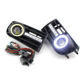 Fog Light Lamp Grille Grill & Switch wiring harness Kit H3 for VW Golf 5 MK5 Rabbit 03-09 Not For GTI&R32 modifications