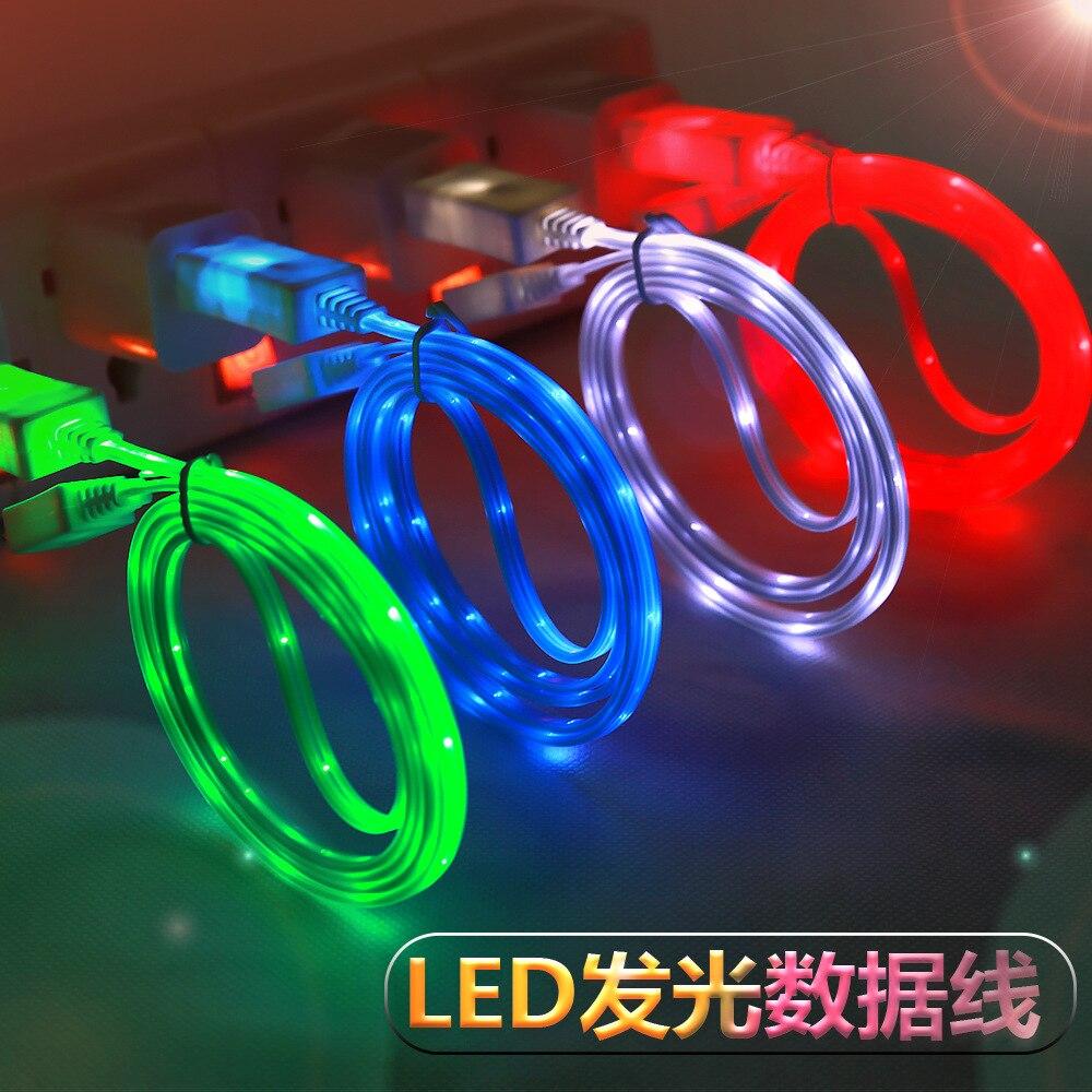Люминесцентные линии передачи данных оптическое волокно для Android/Micro/Тип-C usb светодиодный люминесцентные зарядки линии