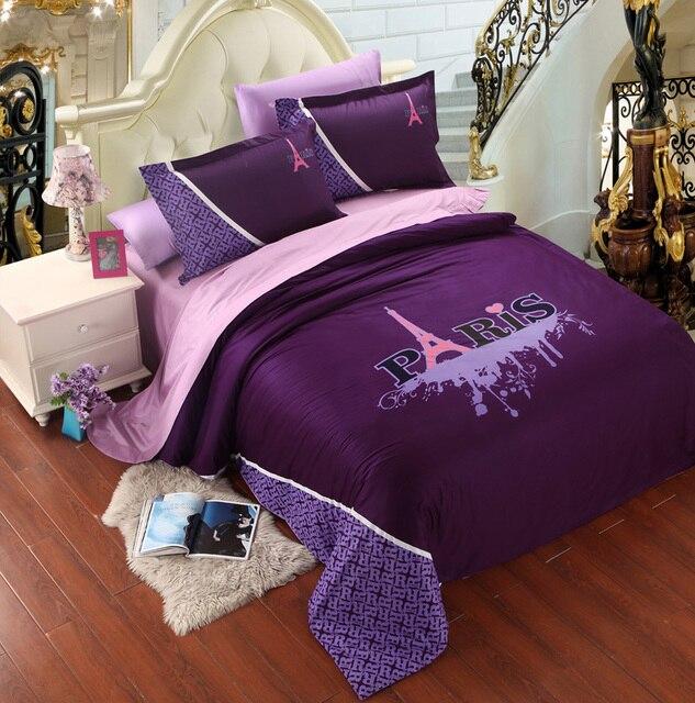 purple pink paris eiffel tower bedding comforter set king queen size duvet cover bedspread bed in - Paris Bedding