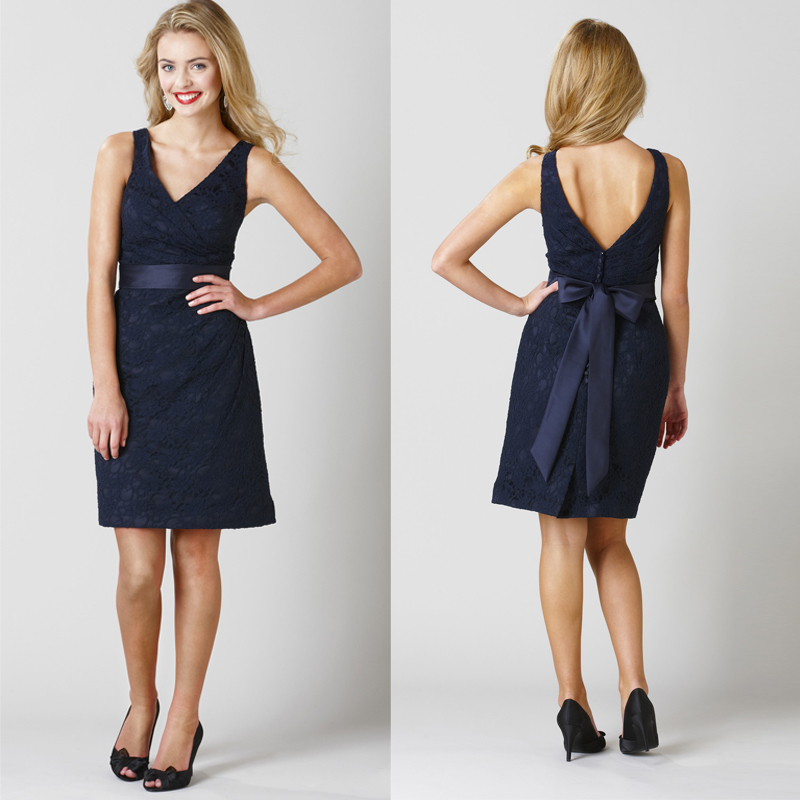 Popular Navy Blue Bridesmaid Dresses with Lace Short-Buy Cheap ...