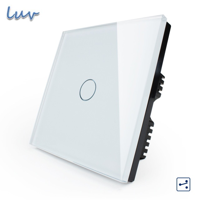 LIVOLO Touch Switch, Smart Home, 1 gang 2 way UK Touch Light Switch VL-C601S-61 w/LED indicator, White/Black Crystal Glass Panel 2017 smart home touch switch smart home 1 gang 2 way uk touch light switch vl c301s 61 w led indicator crystal glass panel