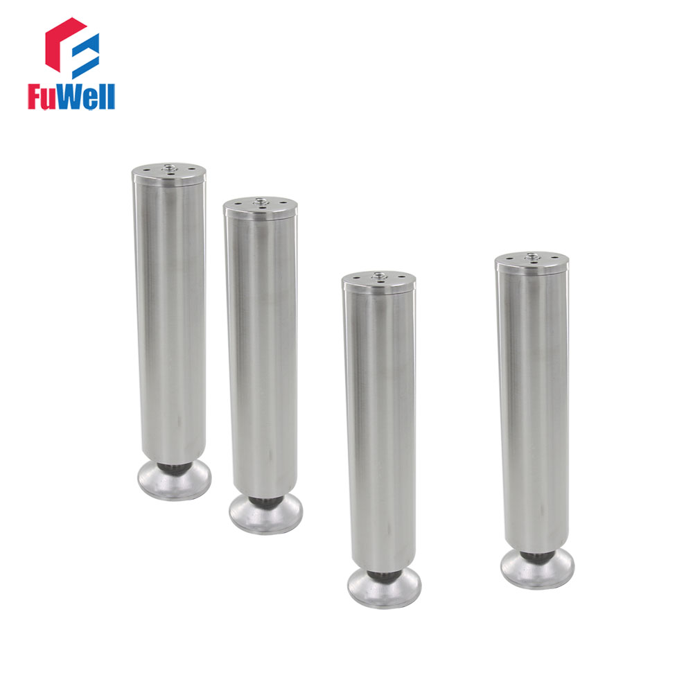 4pcs 250mm Height Adjustable 10-15mm Cabinet Feet Silver Tone Stainless Steel Table Bed Sofa Leveling Foot Furniture Legs bqlzr 150x63mm square shape silver black adjustable stainless steel plastic furniture legs sofa bed cupboard cabinet table bench