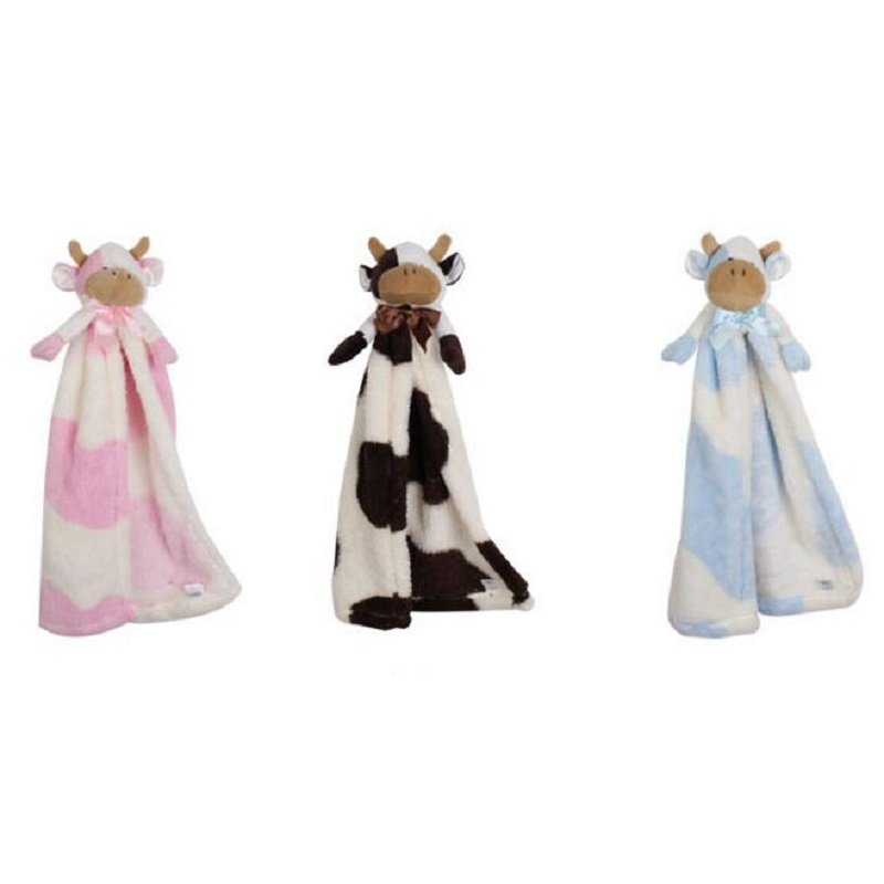 Lovely Cow Newborn Baby Soft Plush Blanket Toys Cartoon Animal Baby Accompany Crib Rattle Room Bed Decoration Toys