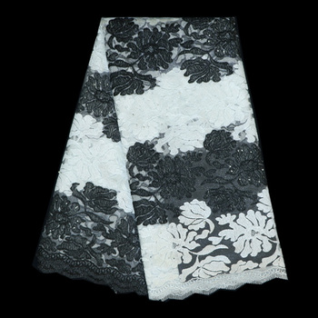 Net lace,Latest African French Lace Fabric High Quality African Tulle Lace Fabric in black white color For Wedding dress