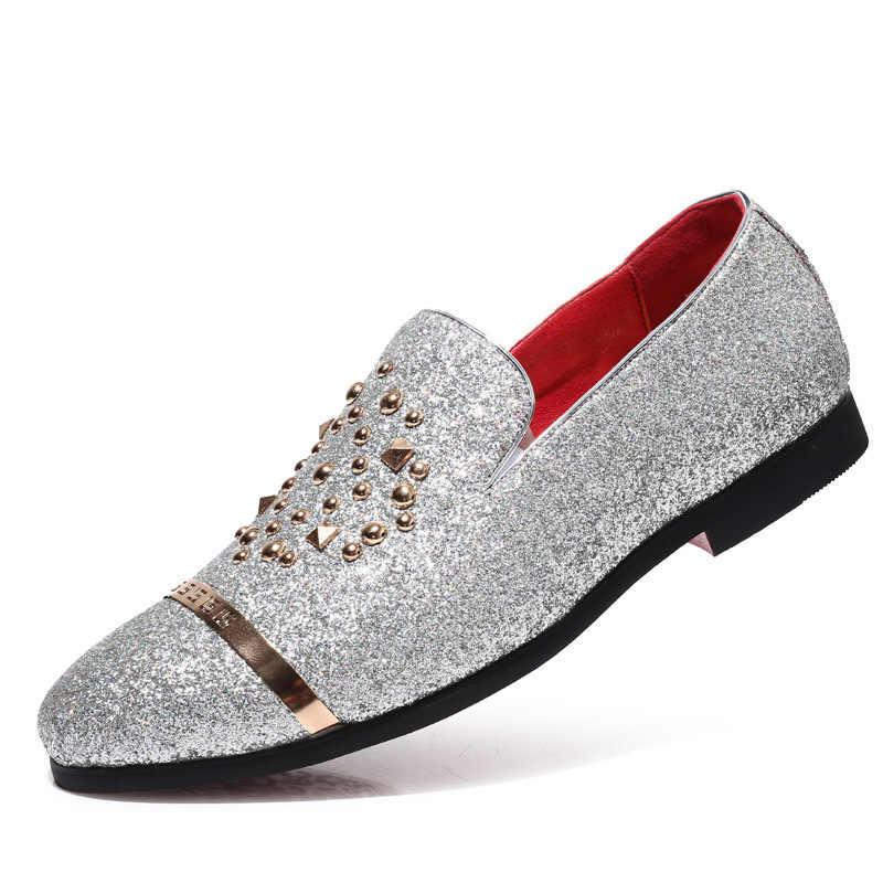الموضة الإيطالية بريق المتسكعون الرجال وصول جديد 2019 coiffeur فستان الزفاف أحذية رسمية الرجال أحذية الحفلات أنيقة الرجال الكلاسيكية