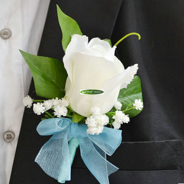 New 8pcs Fabric Artificial Rose Groom Boutonniere Wedding Church ...