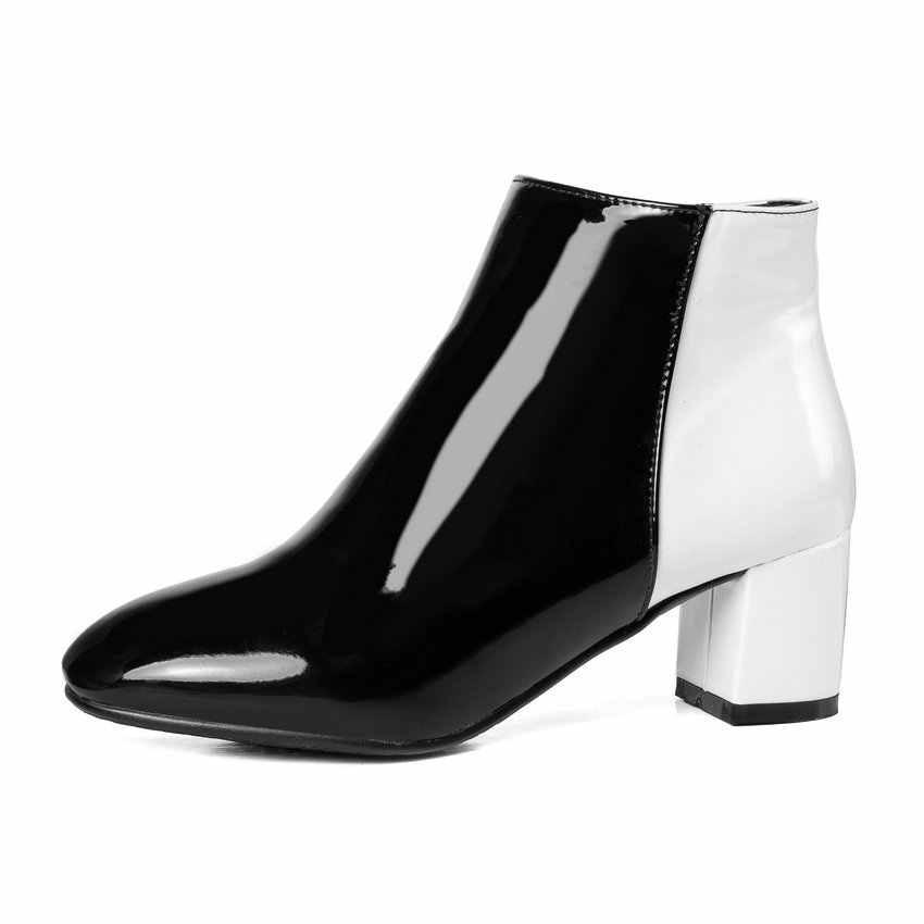 ESVEVA 2020 Kadın Botları Batı Tarzı Kare Yüksek Topuklu Sonbahar Ayakkabı Patchwork Yuvarlak Ayak Çizmeler Kadın yarım çizmeler Ayakkabı 34- 43