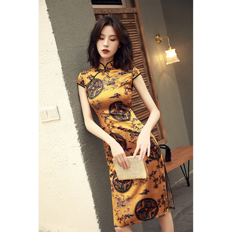 2019 Retro Style Chinese Oriental Dresses Modified Cheongsam Modern Qipao Dress Female Long Cotton Qipao Dress