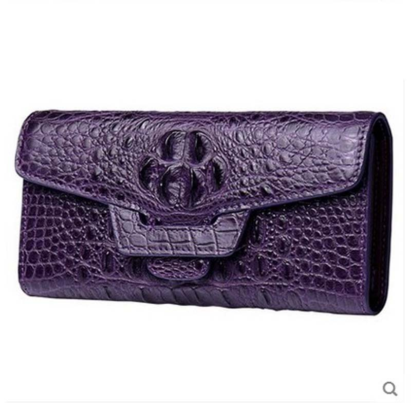 yuanyu 2018 New female alligator wallets long bag authentic Thai crocodile women wallet large capacity yuanyu the new alligator wallets long