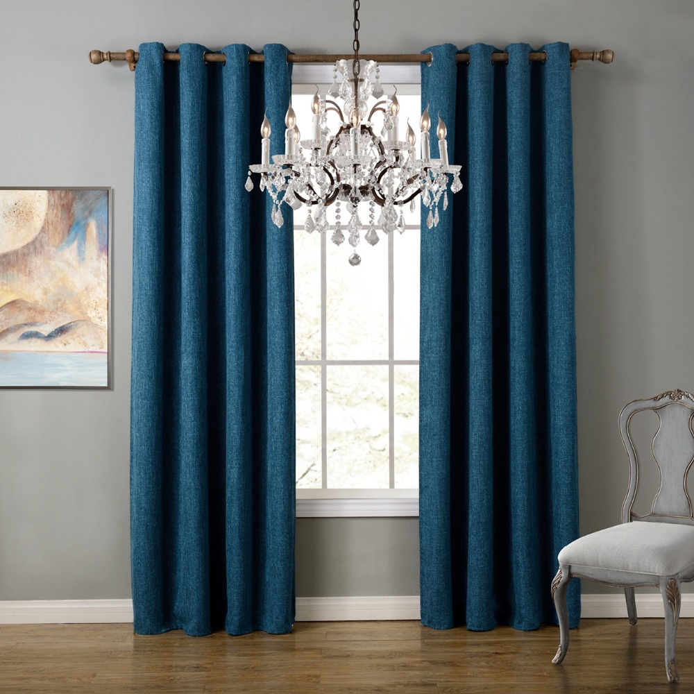 blue modern style bedroom curtains solid curtains for living room