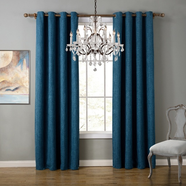 Blue Modern Style Bedroom Curtains Solid Curtains For Living Room ...