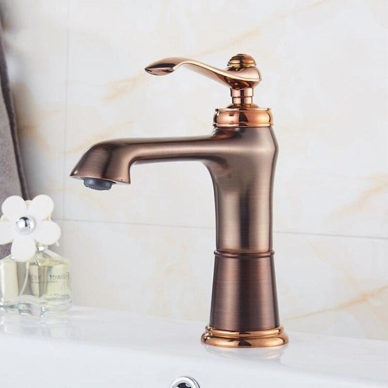 Новый смеситель для раковины из твердой латуни, водопад из розового золота, смеситель для ванной комнаты, смеситель для раковины Torneira Banheiro