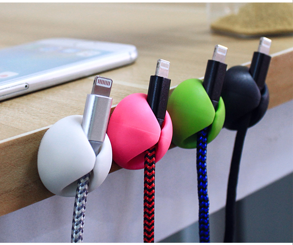 !ACCEZZ Desktop Cable Organizer Wire Winder Management Headphone Holder Mouse Cord Silicone Clips USB Cable For iPhone Micro USB (9)