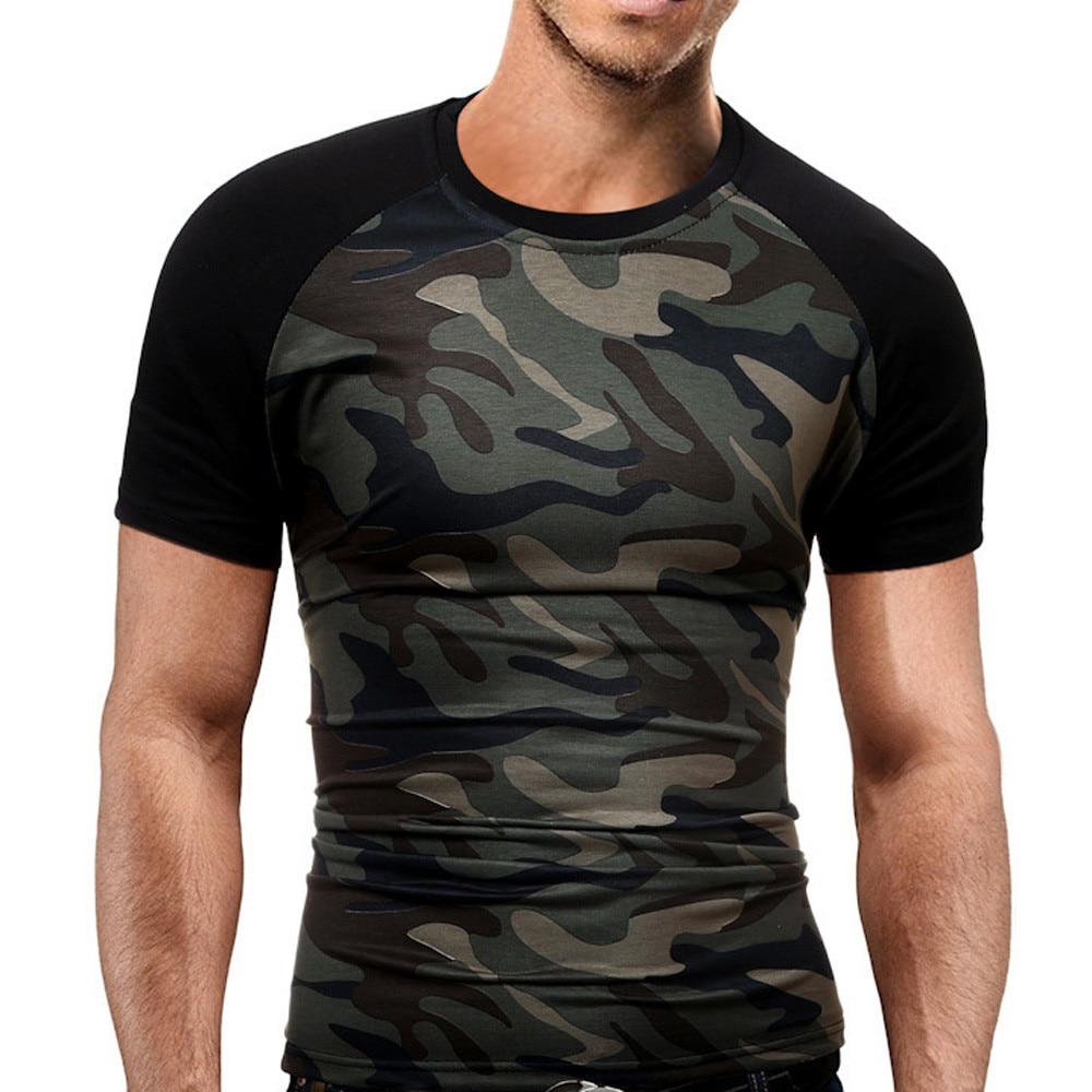 bfece0f55d15 New Summer Men's Slim T-Shirt Military Camouflage O-Neck Short-Sleeved Tees