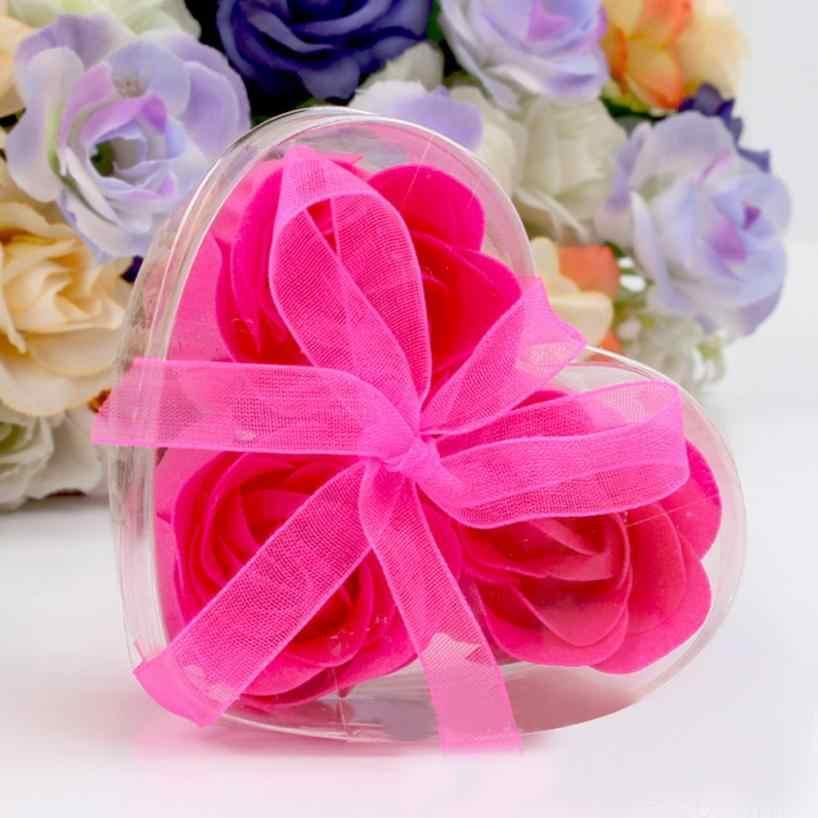 3 piezas perfumadas Rosa flor pétalo baño cuerpo jabón amor corazón jabón plato plástico baño accesorios jabón soporte boda fiesta regalo