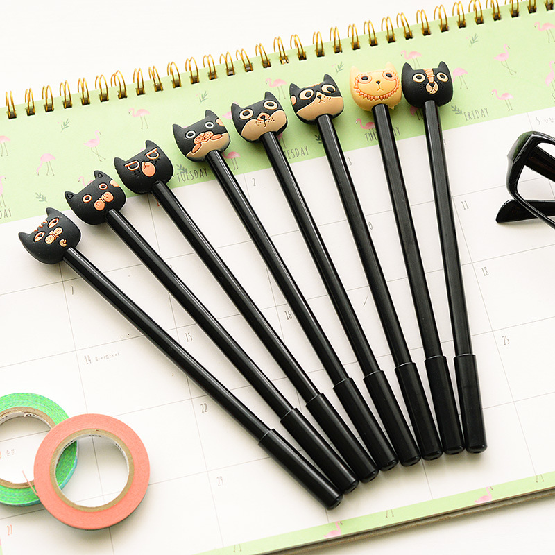 1 Pcs Cute Kawaii Jananease Korean 0.5mm Cat Black Ink Gel Pens Writing Office School Kids Supplies Stationery