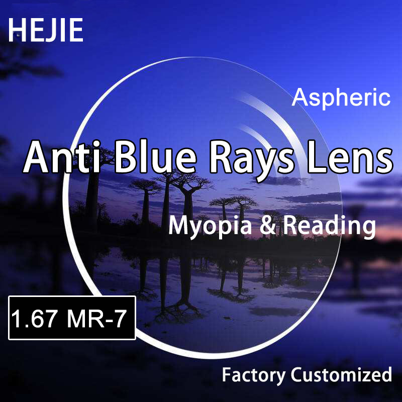 Usine 1.67 lentille Ultra-mince Anti-rayons bleus lentilles asphériques de haute qualité myopie et lecture lumière bleue protéger UV400 HMC