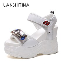 2019 Summer Women Sandals Diamond Wedge Sandals Summer Peep Toe Rhinestone High Heels Platform White Flip-Flops Heeled Sandals white peep toe buckles wedge sandals