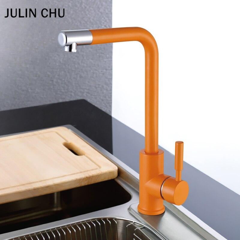 Laiton cuisine évier robinet Orange Antique décor 360 Rotation robinets de cuisine eau chaude et froide mélangeur robinet créatif Chrome robinets