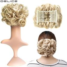 [DELICE] Womens Elastic Net Curly Chignon With Two Plastic Combs Updo Cover Synthetic Hair 100g/pc