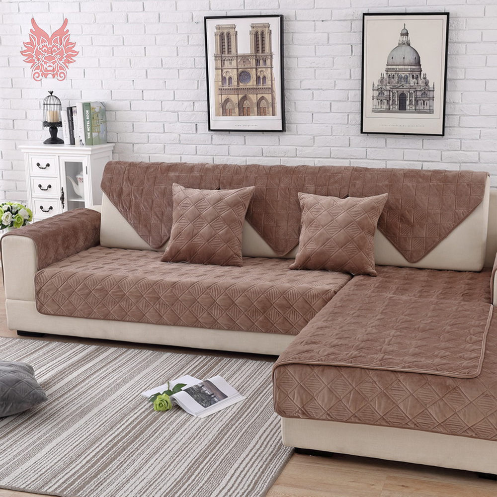 Aliexpress Com Buy Coffee Plaid Quilted Plush Sectional