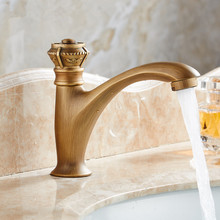 Antique Carving Brass Taps Single Handle Deck Mount Cold Water Balcony Washing Basin Faucet