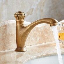 Antyczne rzeźbione mosiężne krany pojedynczy uchwyt nablatowa zimna woda balkon umywalka kran