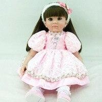 Силиконовые хлопка Куклы 2017 Лидер продаж Прекрасный мини модель девушка кукла с розовым и кошка изображение Платья для женщин мягкие детск