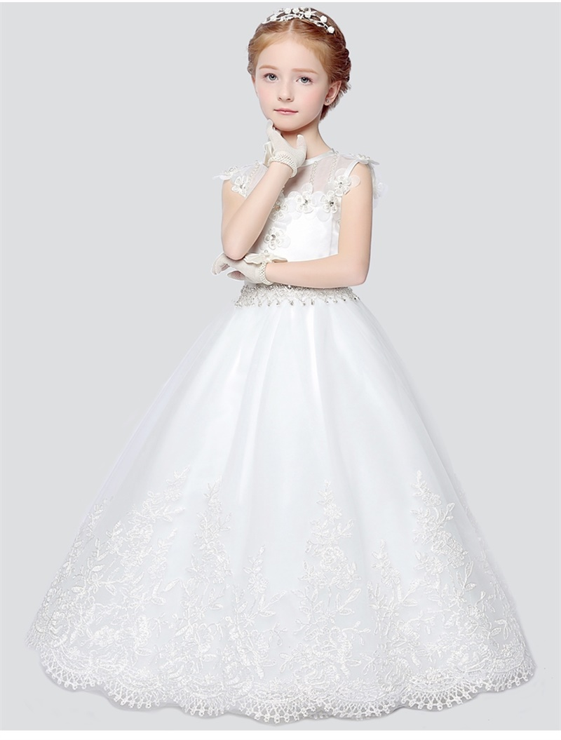 Brand New Flower Girl Dresses Princess Communion Party Pageant Dress with Appliques White Little Girls Kids/Child Birthday Dress