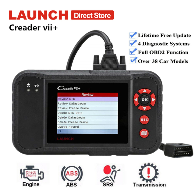 Launch Creader VII Plus Auto Car Scanner Fault OBD2 Code Reader Engine Transmission ABS SRS Diagnostic Tool Same as Creader 123