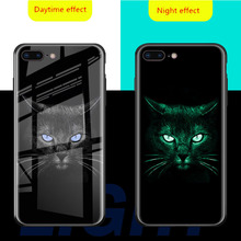 Luminous Tempered Glass Case For iPhone X XS MAX XR luxury Back Cover 6 6S 7 8 Plus phone case for XSMAX