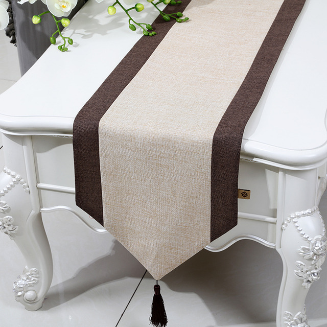 Solid Color Patchwork Chinese Ethnic Table Runner Cotton Linen Rustic Wedding Modern Rectangular Tablecloth Dining