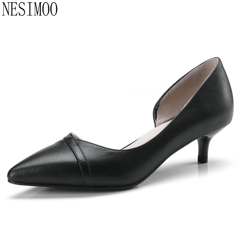 NESIMOO 2018 Women Pumps Cow Leather+pu Fashion Women Shoes All Match White Thin High Heel Pointed Toe Ladies Pumps Size 34-41