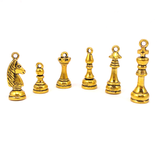 8sets 48pcs Chess Piece Charms Antique Gold King Queen Bishop