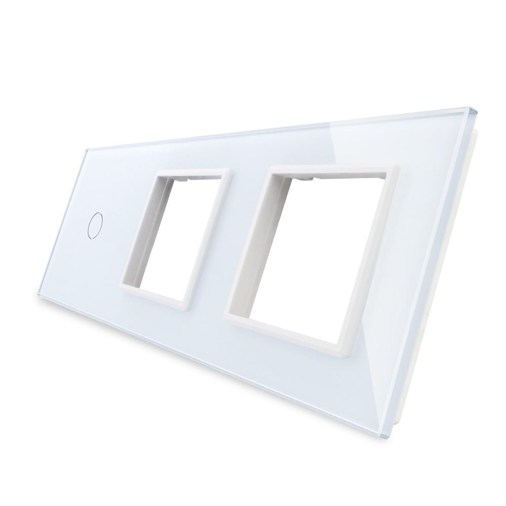 Free Shipping, 2017 White Pearl Crystal Glass, 223mm*80mm, EU standard, 1Gang &2 Frame Glass Panel, OS-C1/SR/SR-1 swarovski кристальные жемчужины crystal cream pearl 1 5 мм